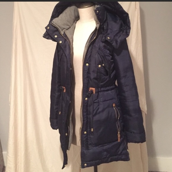 6f36f7be Zara Jackets & Coats | Navy Blue Parka Wquit Textured Elbow Patch ...